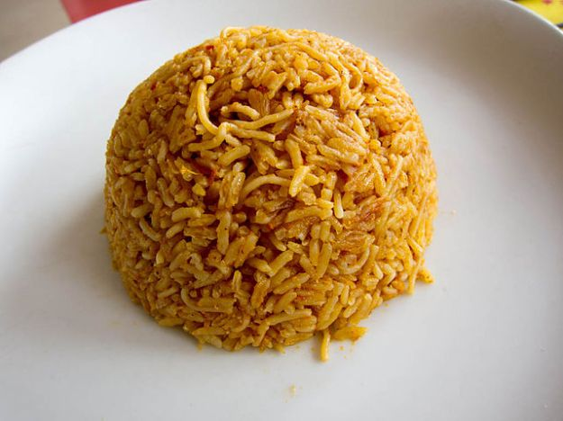 A round mound of yellow rice